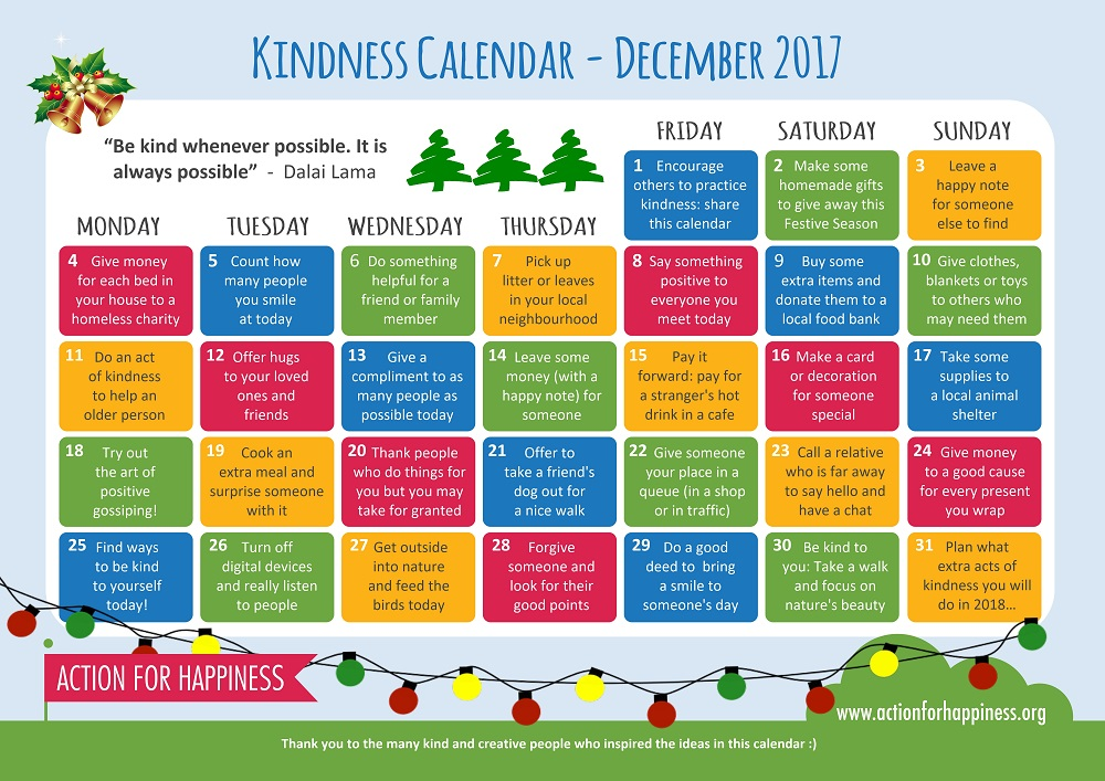 Kindness Calendar has suggested good deeds